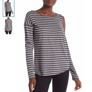 Vince Camuto Long Sleeve Gray Cold shoulder Blouse